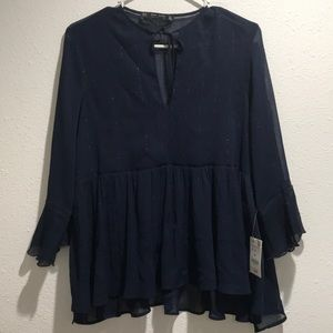 NWT ZARA SHEER NAVY BLOUSE WITH SILVER ACCENTS
